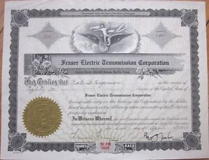 1929-Stock-Certificate-039-Fraser-Electric-Transmission-Corporation-039-Car-Auto
