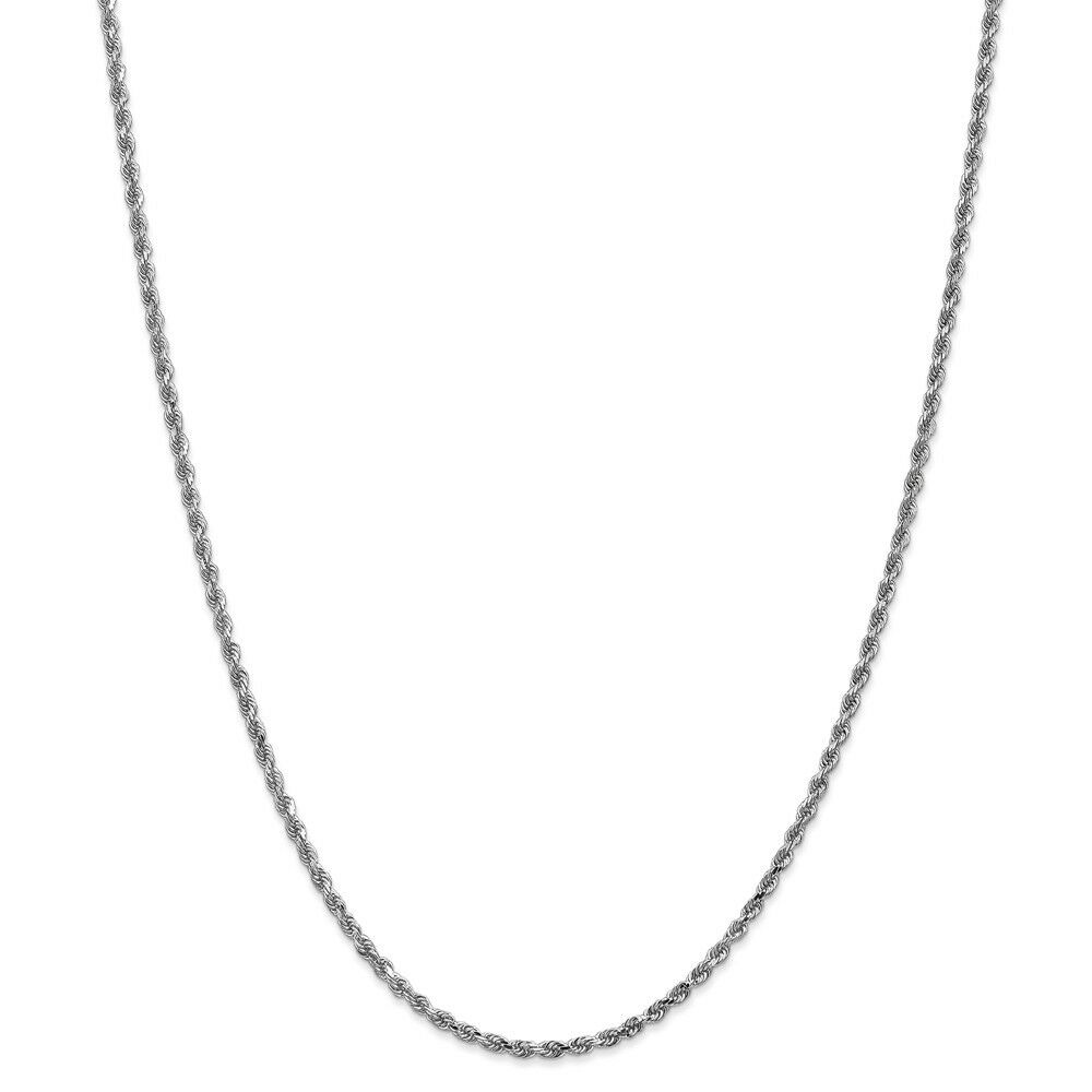 14k White gold 2.25mm Solid Diamond Cut Rope Chain w  Lobster Clasp 16  - 30