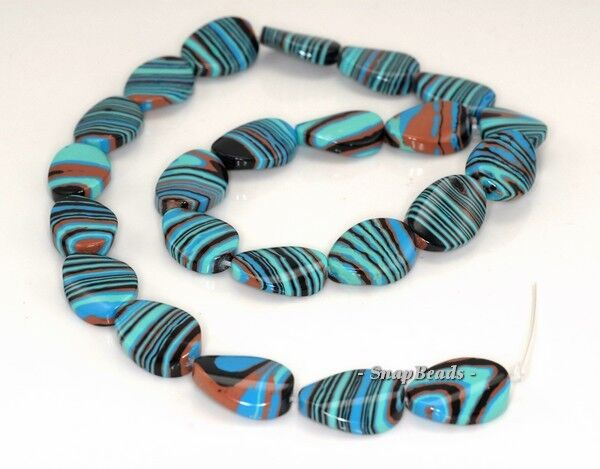 MATRIX TURQUOISE GEMSTONE BLUE STRIPE TWISTED OVAL 18X13MM LOOSE BEADS 7/""