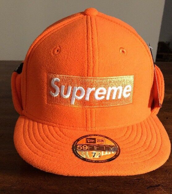 Supreme Era Polartec Ear Flap New Era Supreme Cap Hat Orange 7 1/4  FW17 IN HAND NEW 9be3e3