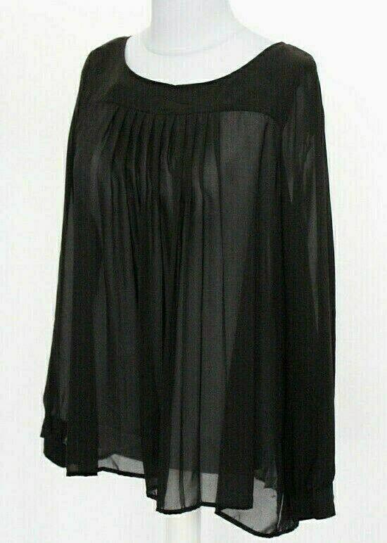 TUZZI Damen Plissée Blause Tunika langarm schwarz leicht luftig Größe 38 NEU R29