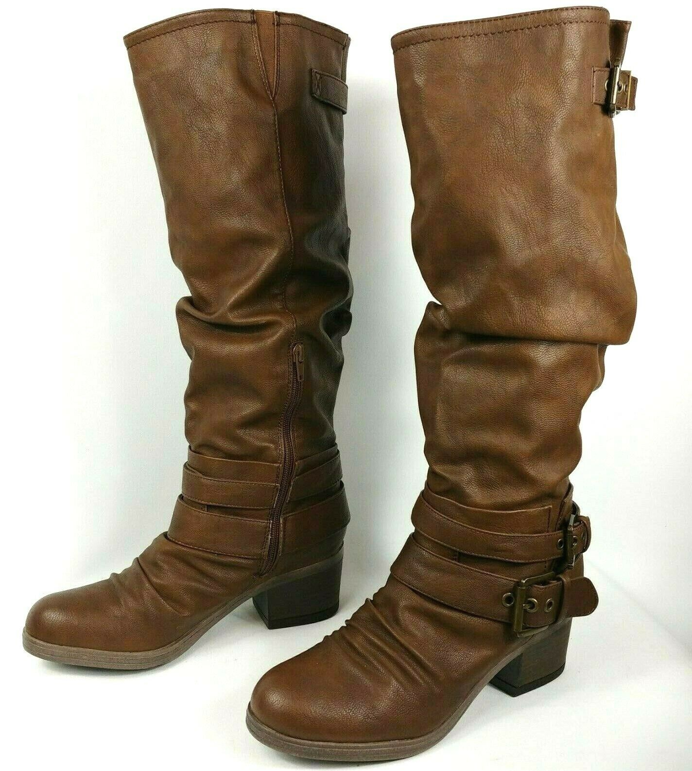 Carlos By Carlos Santana Claudia Brown Knee High slouch Boots buckles Size 8