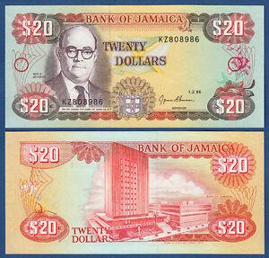 Jamaika Amerika Jamaica 20 Dollars 1995 Unc P.72 E Soft And Light