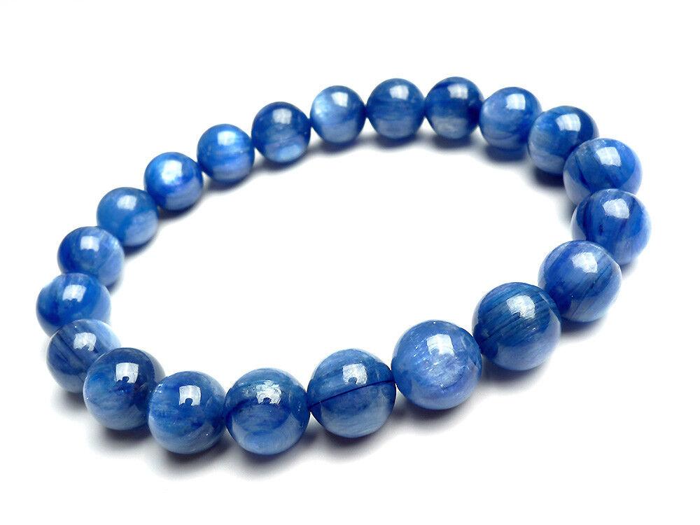 9mm Natural bluee Kyanite Cat Eye Gemstone Fashion Jewelry Women Bracelet AAA