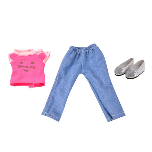 3 Pieces Summer Clothes Shoes Set for AG American Doll 14inch Doll Changing Kit