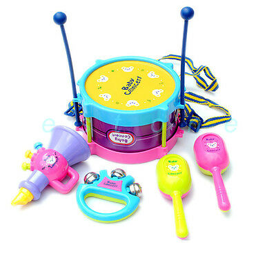 5pcs Roll Drum Musical Instruments Band Kit Kids Children Toy Gift Set New