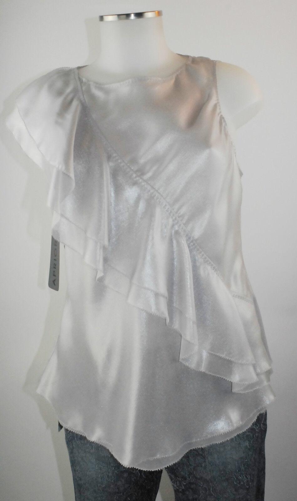 Apriori Top 38 silver grey ärmellos bluese Volants A-Linie Polyester neu m.E.