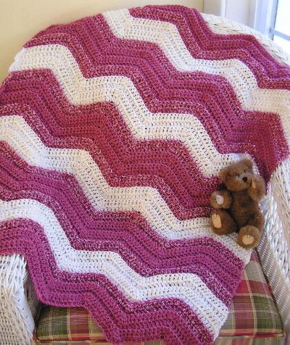 Crochet Chevron Zig Zag Manta afgana Wrap Hecho a Mano Rosa Rosa Vanna White