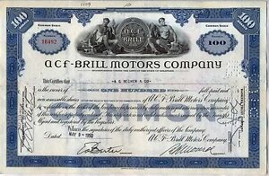 ACF-Brill Motors Company Stock Certificate