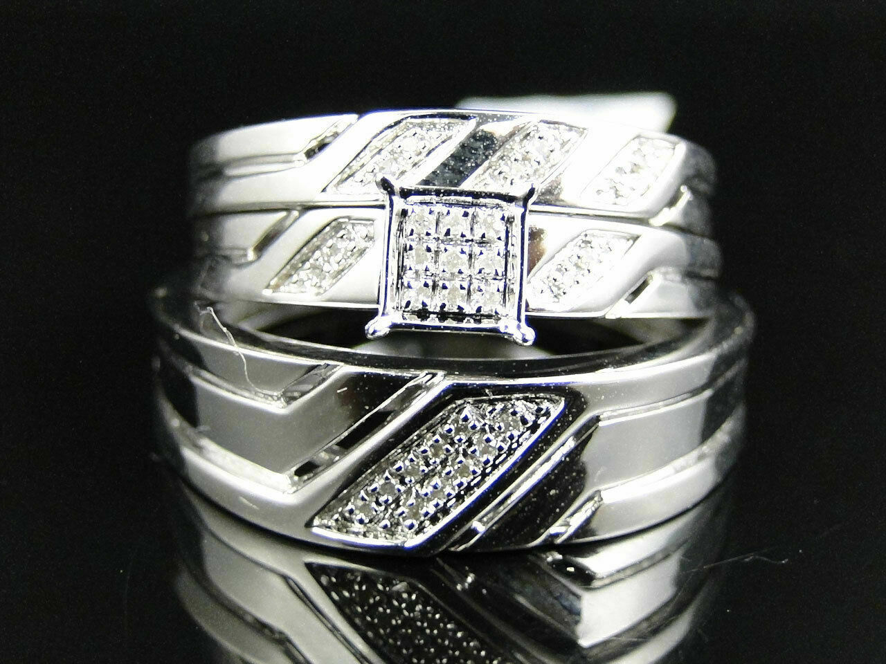 Round Cut Diamond 14K White gold Finish His Her Engagement Ring Wedding Trio Set