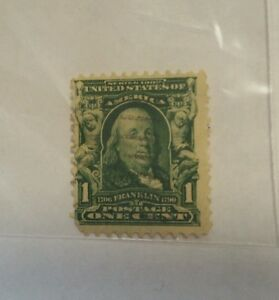 Series 1902 Franklin Full Front 1 Cent Stamp United States Of America Green Used Ebay