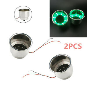 2 PCS 8LED/'s Green Stainless Steel Cup Drink Holder Marine Boat Car Truck Camper