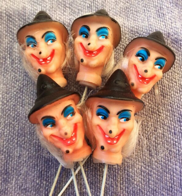 Lot of 5 Vintage Freaky Halloween Witch Wire Stick Decorations Gift Cake Toppers
