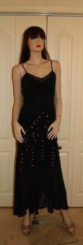 Vintage 30's Inspired Black Chiffon Beaded Dress … - image 1