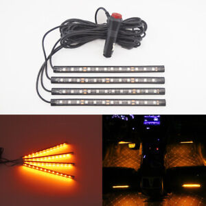 Details About 1 Set Super Nice Amber Yellow 48 Smd Led Strip Lights Car Truck Interior