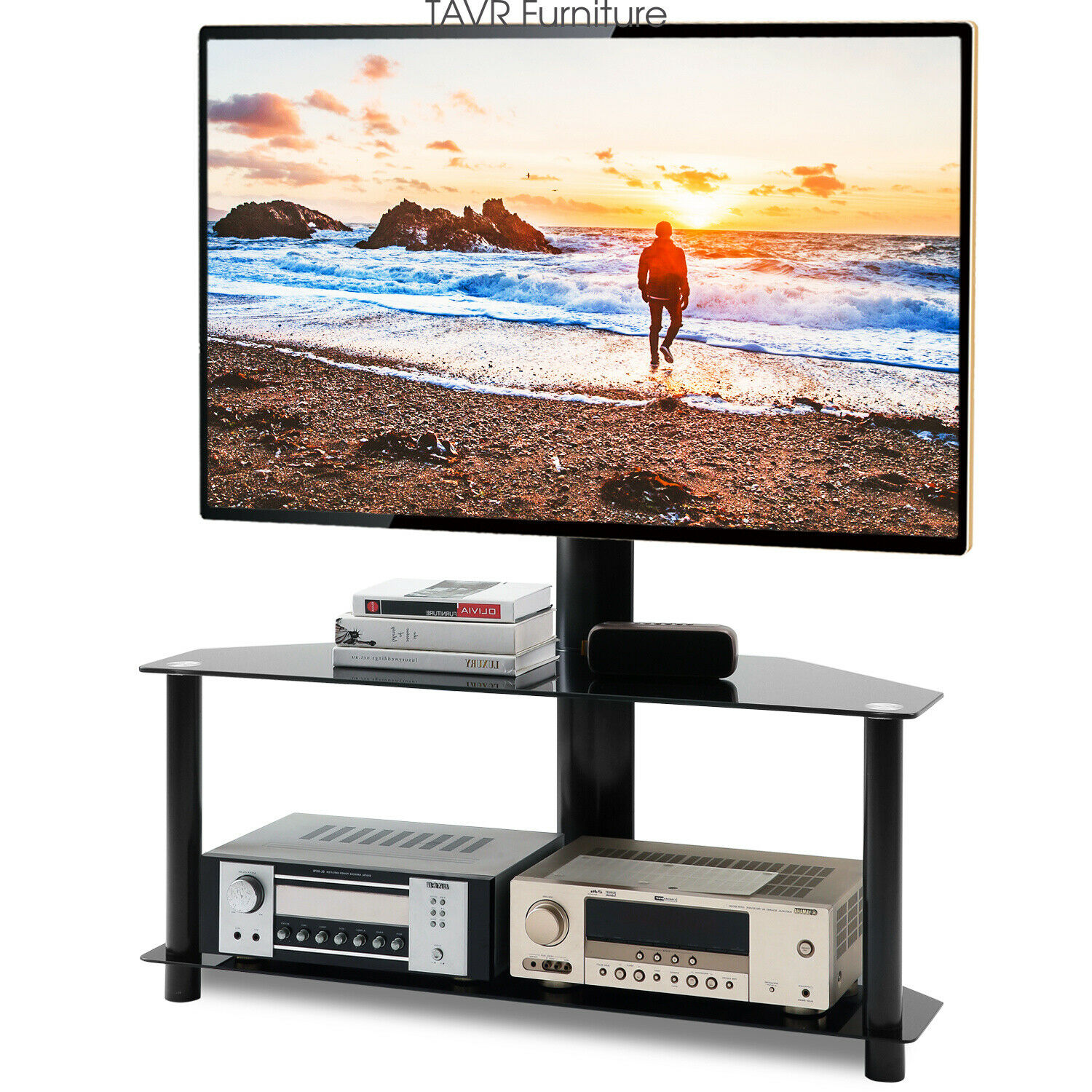 Universal Table Top TV Stand for 32 to 60 inch TVs with 50 Degree Swivel Vintage