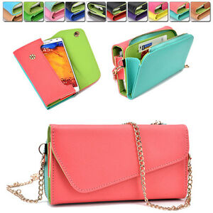 Ladie-039-s-PU-Leather-Wallet-Case-Cover-amp-Crossbody-Clutch-for-Smart-Phones-XLUB9