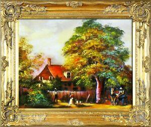 éNergique Ferme Paysage Tableau Fait à La Main Ölbild Tableau Peinture Cadre Photos 15693