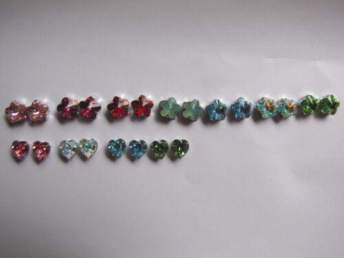 2 Swarovski Crystal Rhodium Mounted FLOWER /& HEART 10mm Montees 4 holes at base