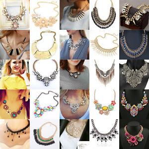 Chaine-Pendentif-Mode-Declaration-Cristal-Choker-Chunky-Collier-Plastron-Bijoux