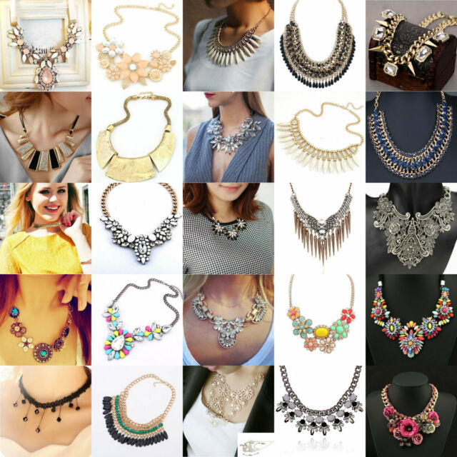 Hot Fashion Pendant Chain Crystal Choker Chunky Statement Bib Necklace Jewelry