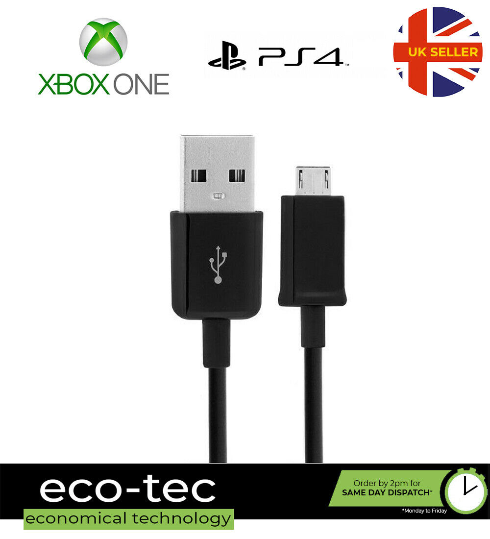 1M Black Micro USB Charging Cable Lead For Xbox One PS4 Controllers