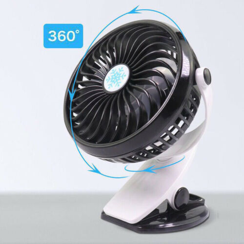 360° 3 Modes Protable Travel Fan Rechargeable USB Fan Clip On Desk Pram Cot Fan