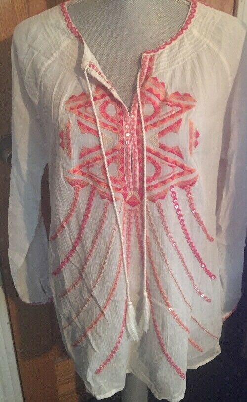 NEW Sundance Catalog Boho Blouse Large Top Sequins  100% Cotton-Sheer    NWT