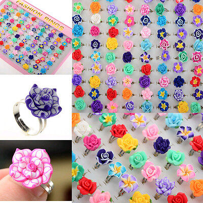 New Wholesale Lots 30pcs Colorful Rose Flower polymer clay Children Ring Gift H