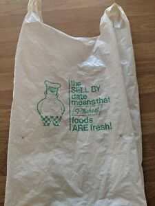 Details about MARKS & SPENCER ST. MICHAEL WHITE & GREEN PLASTIC CARRIER BAG EX. RARE 1980s
