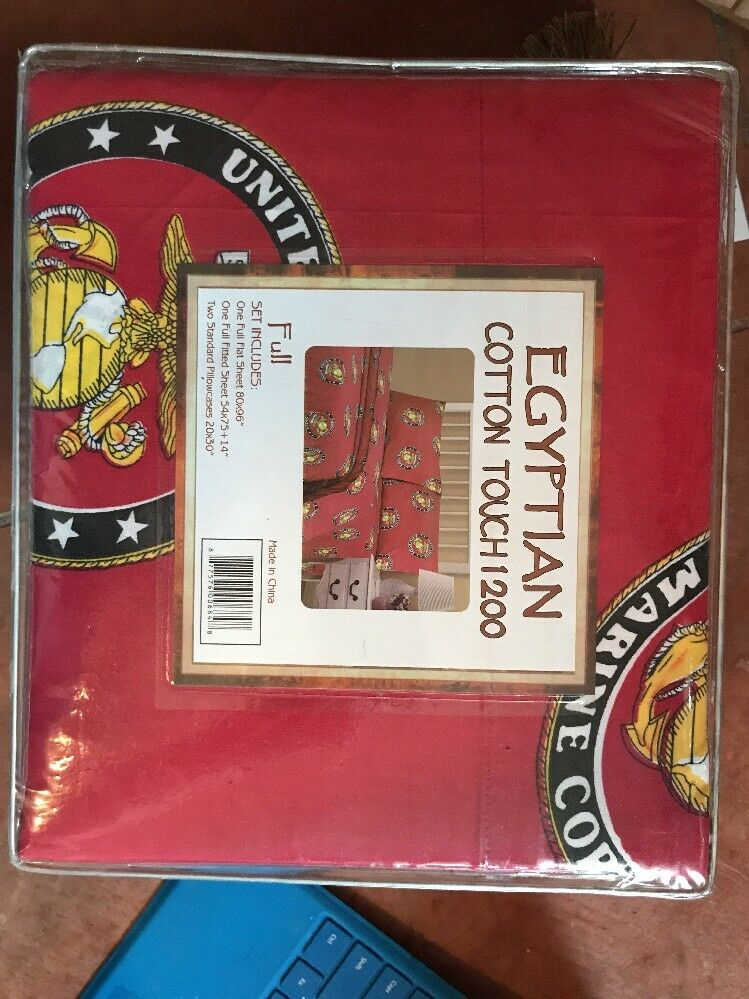 US Marine Corps 1200 Thread Count Egyptian Cotton Full Sheet Set NIP