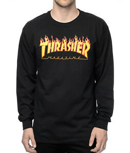 Thrasher-Magazine-L-S-Flame-Black-Long-Sleeve-Tee-Skateboard-T-Shirt