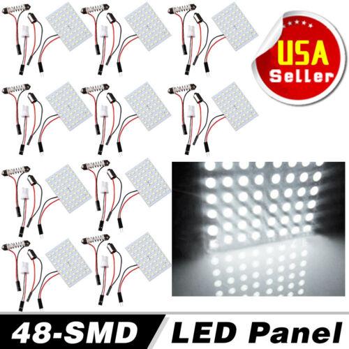 10X White 48SMD Panel LED Festoon T10 BA9S Adapter Interior Dome Map Light Bulbs
