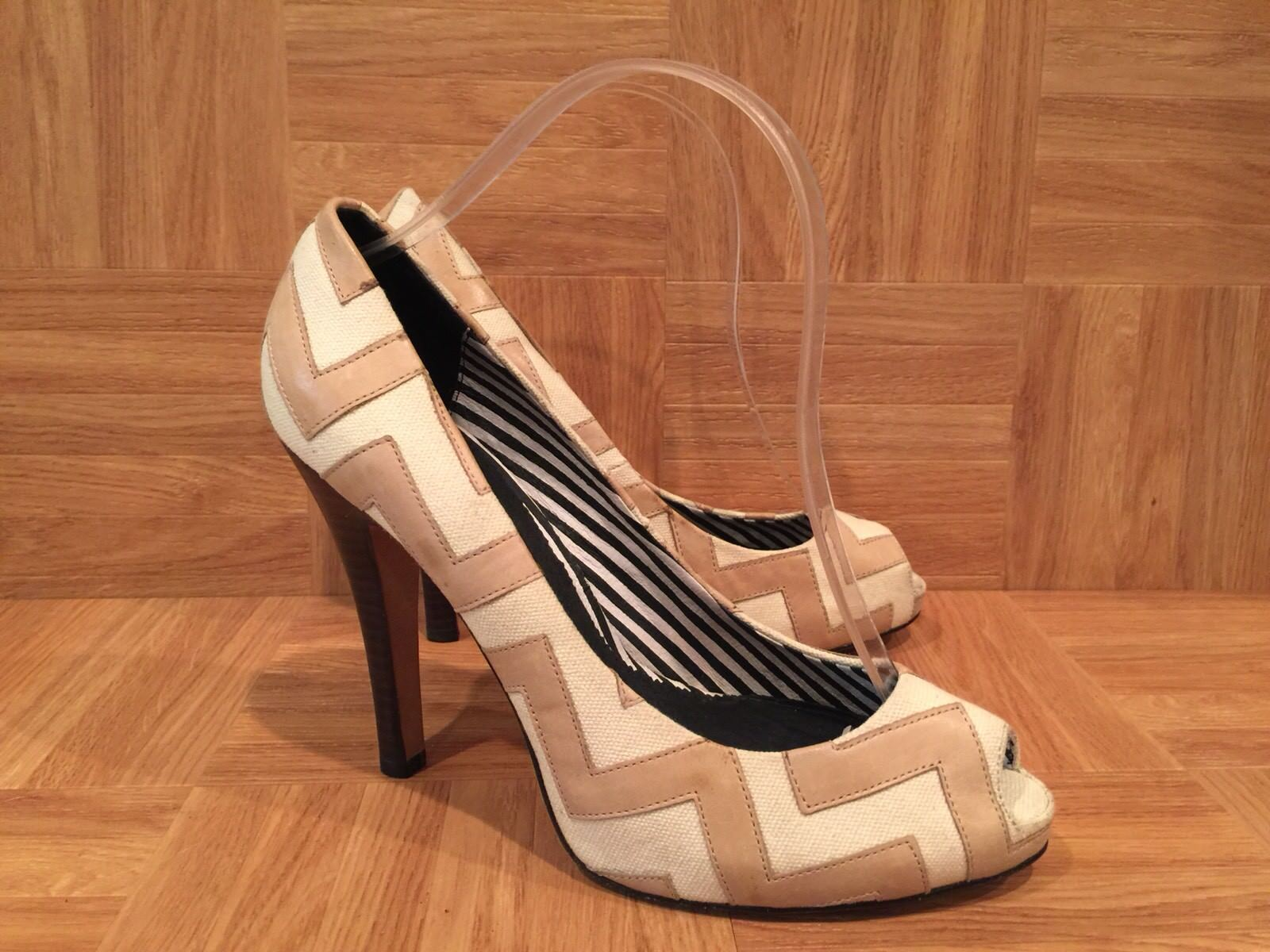 335 ️ L.A.M.B. LAMB Zig Zag Peep Toe Pumps Canvas Leather Nude Sz 8.5 EUC