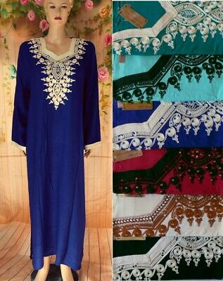 Djellaba Abaya Robe Orientale M A Xxxl Maison Broderie Tunique Caftan Marocaine Ebay