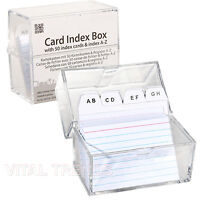 Card Index Record Box Cards Records Office with Index A-Z Guide Transparent Box