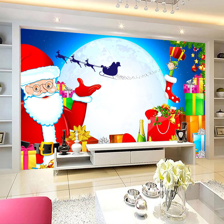 3D Moon Santa Claus5 Wallpaper Murals Wall Print Wallpaper Mural AJ WALLPAPER UK