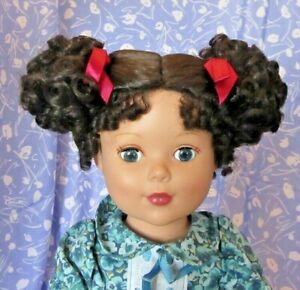 Wee-3-BLACK-CHILD-DK-Brown-Full-Cap-Doll-Wig-Sz-12-13-Tight-Curl-Ponytails