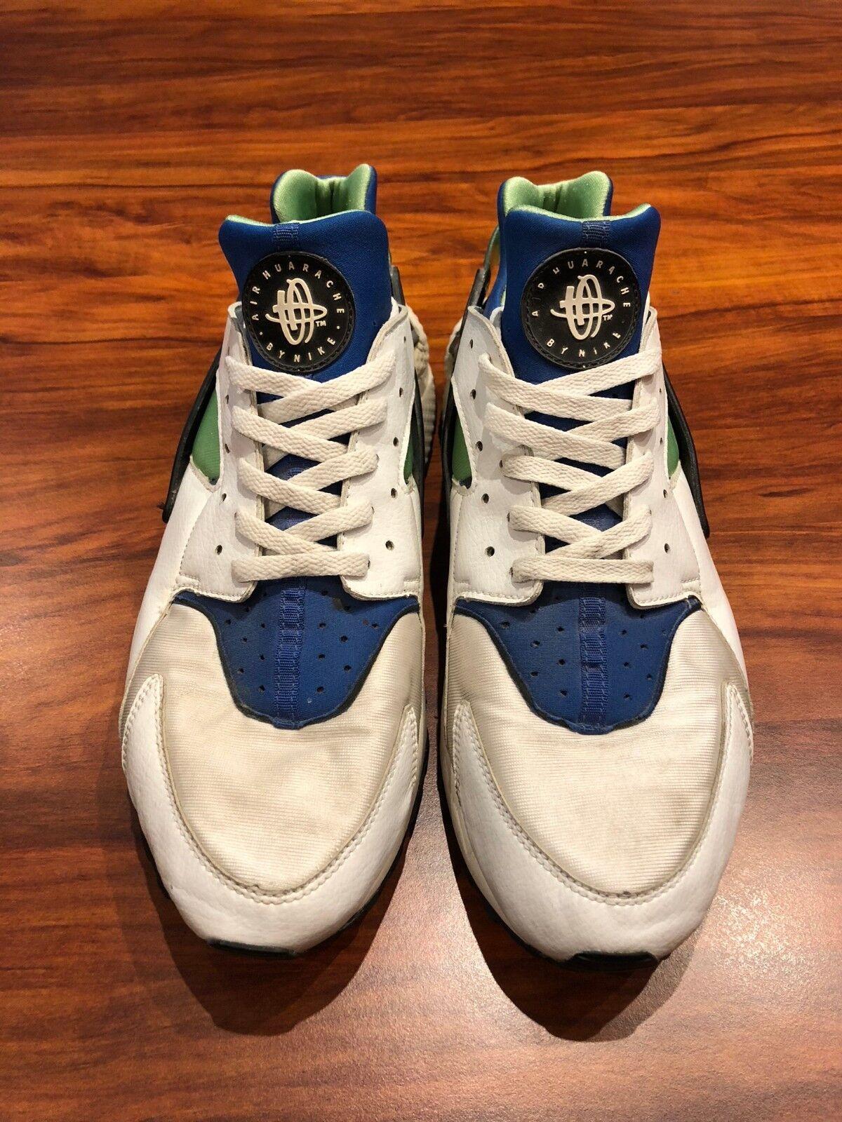 Nike Air Huarache bluee Green White Black Vintage- US 13 I I