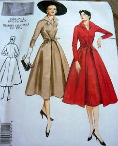 Details about 1950s VOGUE VINTAGE MODEL WRAP FRONT DRESS SEWING PATTERN  18-20-22 UNCUT