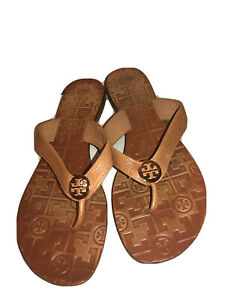 Tory-Burch-Thora-Tan-Tumbled-Leather-Thong-Leather-Sandals-Flip-Flops-US-8-M