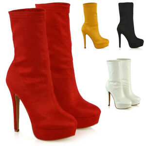 Womens-High-Rise-Stretchy-Calf-Platform-Shoes-Ladies-Pull-On-Ankle-Sock-Boots