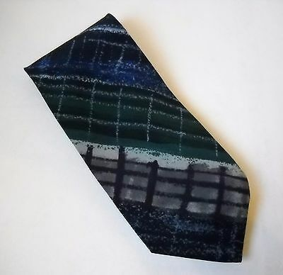 Ungaro Paris Neck Tie Blue Green Gray 100% Italian Silk Mens Geometric Stripe