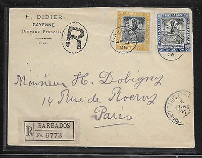 p1201bb Barbados 1906 Nelson 2d+2 1/2d Reg Cover To France