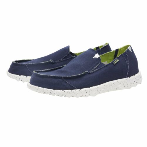 Hey Dude Shoes Mens Farty Funk Navy Lime Canvas Slip on Mule