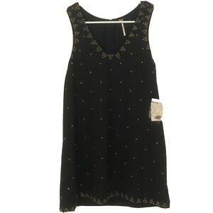 Free-People-NEW-Black-Womens-Size-2-Soho-Sleeveless-Studded-Shift-Dress-148