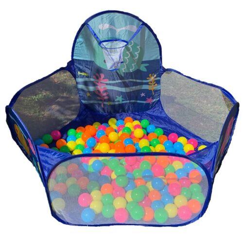 Kinder Bällebad Blau mit Netz Korb inkl 500 Bälle