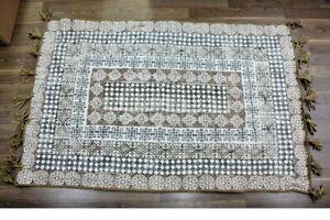 miaVILLA-Teppich-034-Fransa-120x180cm-80-Cotton-grau-braun-Vintage-Quasten-NEU-TP13