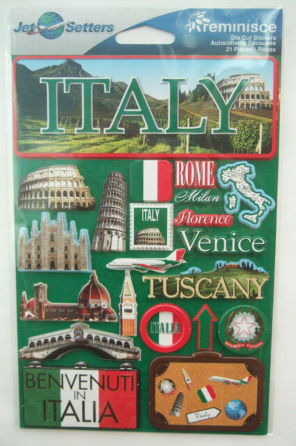 ~ITALY~ Reminisce Jet Setters Die Cut Dimensional Stickers; Venice Tuscany Rome