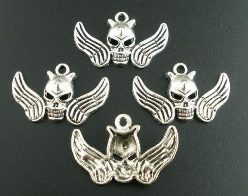 5 X Skull /& Wings encantos 39 X 25 Mm-Tono Plata-el mismo día de franqueo